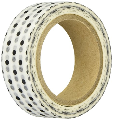 Darice Tape (Darice WSP014 Washi Tape White with Black Dots Roll, .62x315