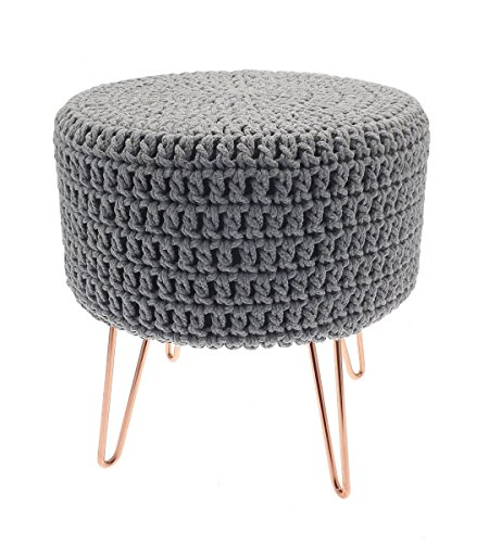 Homespace Direct Faux Fur White Footstool Pouffe Foot Stool Seat with Silver Metal Legs