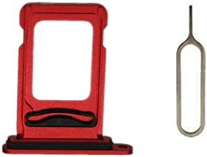 MEEFIX SIM Card Tray Holder Slot Replacement with Open Eject Pin for iPhone 11 (6.1 inch) (Red, Single SIM)