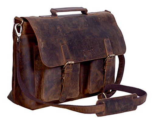 KomalC 15 Inch Retro Buffalo Hunter Leather Laptop Messenger Bag Office Briefcase College Bag CYBER MONDAY SALE