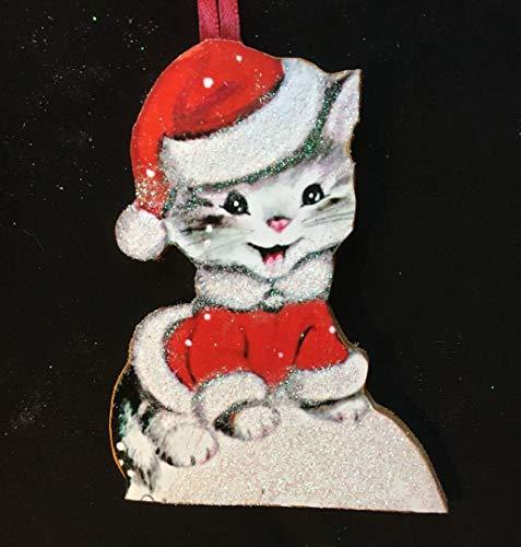 Enameled Holiday Bells - Santa Cat Ornament Handmade Wood Christmas Decoration, Santa Claus Suit, Veterinarian Gift Cat Lover Present, Grab Bag Gift, White Kitty