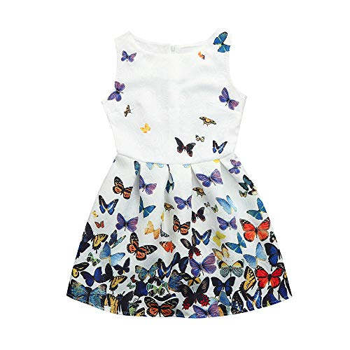 id Dress Princess Floral Print Party Sleeveless Clothes Dress(6-12T,BK.MR .WH) ()