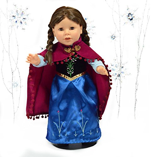 Disney Collection Frozen Anna Costume - Anna Princess Royal Dress with Cape