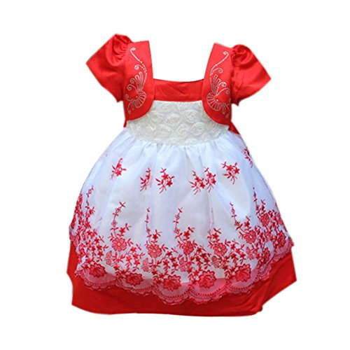 Weixinbuy Baby Girls Princess Puff Sleeve Tulle Party Birthday Wedding (Puff Sleeve Dance Dress)
