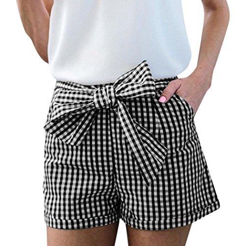 Women Plaid Short Pants Tie Waist Summer Casual Bow Printing Trouser (S, (American Eagle Mens Belt)