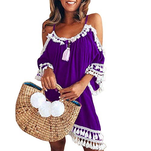 Summer Tassel - Womens Off Shoulder Dress Tassel Short Cocktail Party Beach Dresses Sundress (Purple, Small)