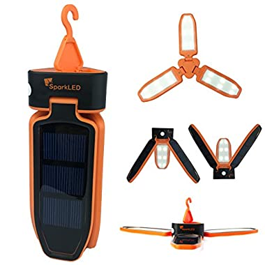 Folding Clover Solar LED 100 Lumen Camping Lantern | USB Rechargeable and Solar Chargeable | 3 Level Brightness Including SOS Flashing | Hurricane Storm Tent Lantern | Only 6  High