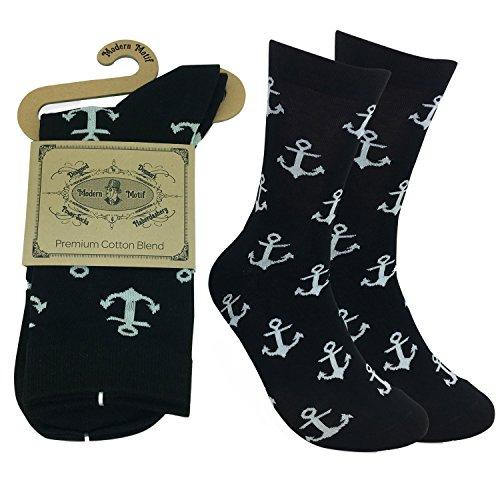 Full Black Anchor Style Men Brand Funky Socks Fashion Business Men's Socks Cotton Multi Color Male Classic Socks by Modern Motif