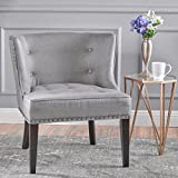 Grey Accent Chair Aria | Occasional Chair | Wing Back | Nail Head Accents | Button Tufted | Corded | Fabric in Grey