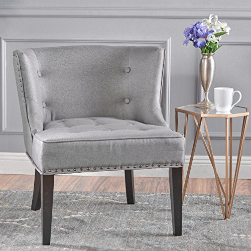 - Christopher Knight Home 301257 Aria Occasional Chair Wing Back Nail Head Accents Button Tufted Corded Fabric in Grey,
