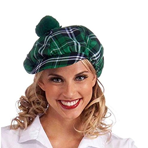 Green Tartan Plaid Newsboy Golf Cabbie Cap Hat with Pom Pom St. Patrick