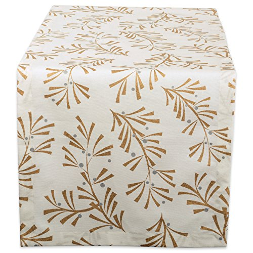 DII 100% Cotton, Machine Washable, Printed Metallic Table Runner For Parties, Christmas & Holidays - 14x108