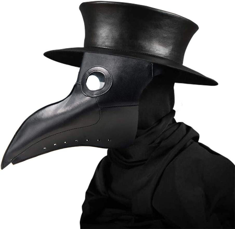 Máscara de médico, Máscara de Miedo de Halloween Peste Pájaro Doctor Nariz Cosplay Fantasía gótica Steampunk Vintage Rock Bird Máscara (Negro)