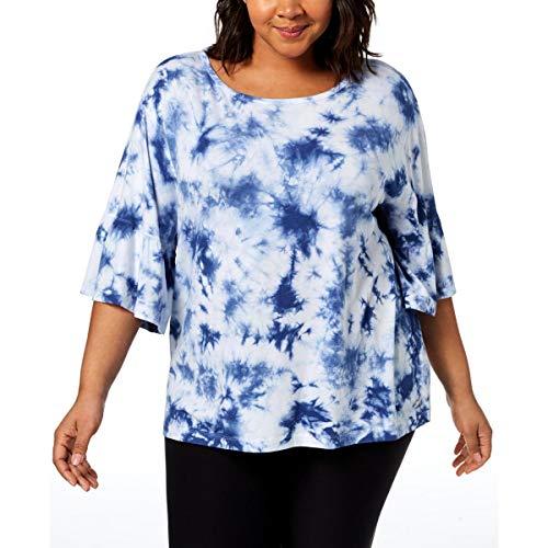 Calvin Klein Women's Plus Size TIE DYE Ruffle SLV. TOP, Peacoat, 1X (Plus Size Ruffle Coat)