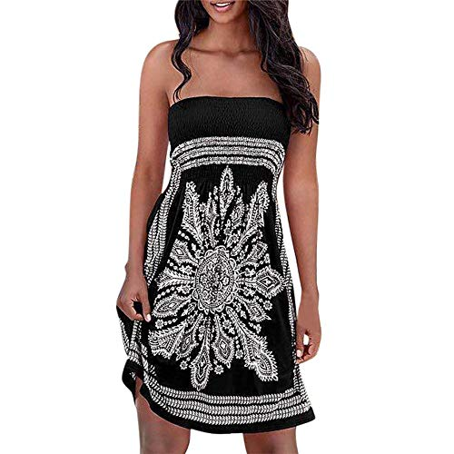 QIQIU Strapless Bohemian Dress, Womens Floral Mini Beach