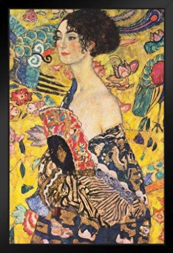 Gustav Klimt Lady with Fan Asian Influenced Austrian Symbolist Painter Framed Poster 14x20 inch ()