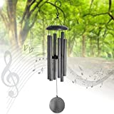 Wind Chimes Amazing Grace Large Outdoor,36''Memorial Wind Chimes for Funeral Deliver Deep Tone,Metal Sympathy Wind Chimes with 6 Metal Tuned Tubes for Garden Yard Home Housewarming Decor,Sliver Grey