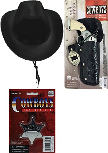 Cowboy Playset - Cowboy Hat, Western Toy Replica Gun, and Sheriff Badge