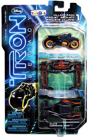 TRON LEGACY VILLAIN 1:50 SCALE DIECAST TOY VEHICLE EXCLUSIVE 3-PACK CLU'S LIGHT CYCLE, RECOGNIZER, CLU'S COMMAND SHIP