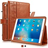 KAVAJ iPad Case 2018 2017 Leather Cover London for Apple iPad 6th & 5th Gen. Cognac Genuine Cowhide Leather with Pencil Holder Built-in Stand Auto Wake Sleep Function Slim Fit Smart Folio iPad 9 7