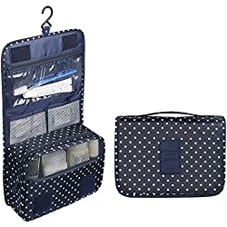 Sudion Cosmetic Bag, Portable Travel Hanging Toiletry Bag for Men Shaving Kit & Women Make Up Bag Organizer with compartments - Dark Blue with Point