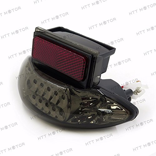 HTTMT MT031A- Custom Smoke Lens LED Brake Tail Light w/Integrated Turn Signals Indicators Compatible with 1999-2007 Suzuki Hayabusa GSXR1300 2003-2006 Katana 600/750 2003-2006 GSX-F 600/700