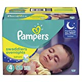 Pampers Swaddlers Overnights Diapers, Size 4, 58 Count