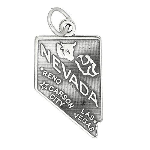Sterling Silver Oxidized State of Nevada Charm (Nevada State Charm)