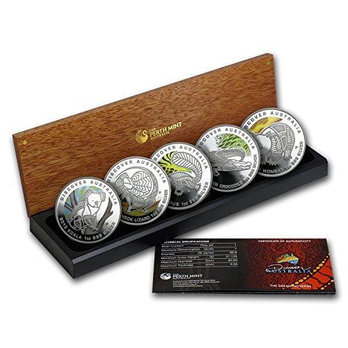 au-2010-5-coin-1-oz-silver-discover-australia-dreaming-proof-set-brilliant-uncirculated