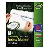 Avery Index Dividers, Print & Apply Clear Label, Index Maker Easy Apply Strip, 8 Printable Tabs, 5 Sets (11581)