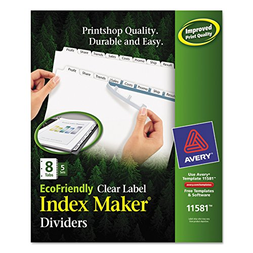 - Avery Index Dividers, Print & Apply Clear Label, Index Maker Easy Apply Strip, 8 Printable Tabs, 5 Sets (11581)