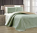 Embossed Medallion Bedspread/Quilt Set Queen/Sage