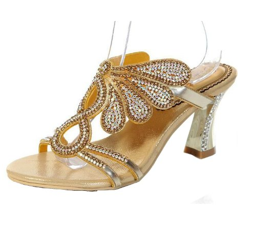 Abby MNS-T001 Womens Sexy Surprising Nice Exquisite Elegant Snug Fashion Leather Slippers Gold
