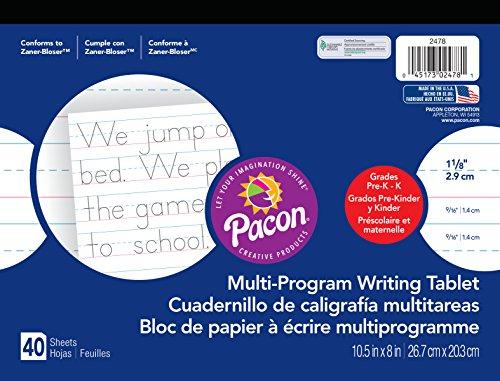 - Pacon  Handwriting Paper, Zaner-Bloser Grades Pre-K & K, 1-1/8