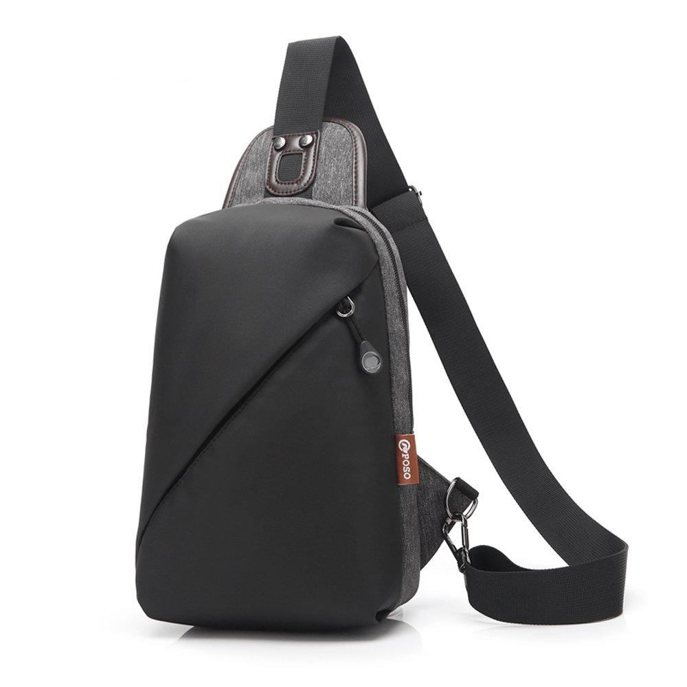 CoolBELL Srotek bolso pecho acruzdos de hombres mochila bolso de honda a gimnasio impermeable para viajes/senderismo/al aire libre/hombres/mujeres (Oscuro Gris)