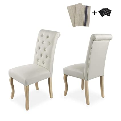 Aodailihb Dining Chairs Set Of 2 Solid Wood High Back Dining Chair Fabric Padding Oak Legs Classic Durable Beige