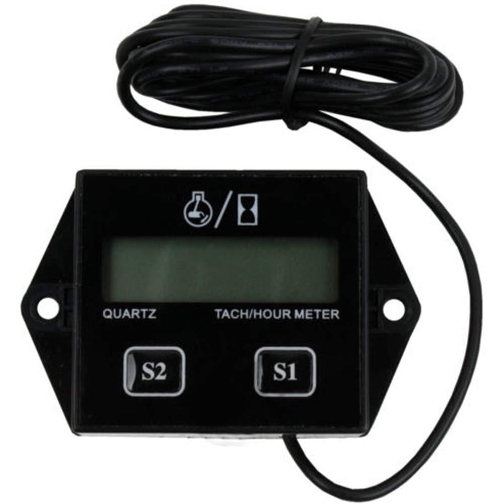 noir Digital Tach Hour M/ètre Jauge de tachym/ètre pour tous les Moto Marine Bateau ATV motoneige avec moteur 2/temps et 4/temps au gaz Inductif Compte-tours