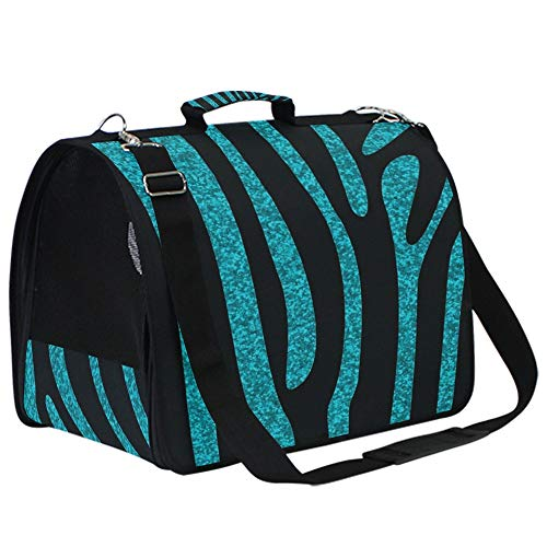 Blue Glitter Zebra Skin Pet Carriers Collapsible Soft Sided Pet Travel Carrier for Small Dogs and Cats,Airline Approved