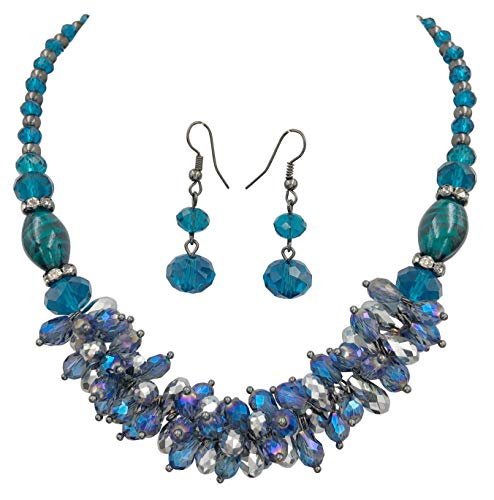 (Gypsy Jewels Glass Cluster Beads Silver Tone Statement Necklace & Dangle Earrings Set (Blue Gun Metal))