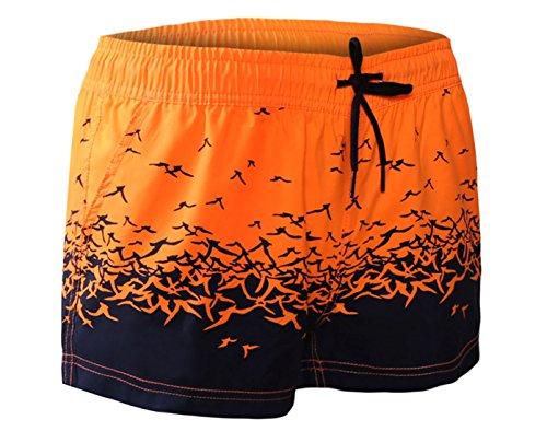 Elsa Steen - Damen Badeshorts Sport mit Blumen Muster Zweifarbig, XS, Orange