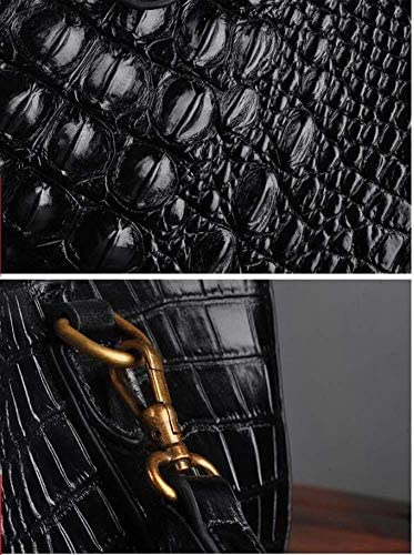 EEKUY Signore del Modello del Coccodrillo Borse, in Pelle di Bauletto Donne Top-Maniglia Borse della Borsa Shoulder Bag Messenger Bag 36 * 20 * 23cm,Nero