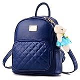Girls Leather Backpack Purse Satchel School Bags Casual Travel Daypacks for Womens Mini Backpack Dark Blue