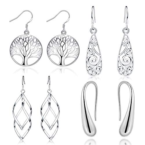(Celtic Jewelry White Gold Polished Dangle Drop Earrings For Women Girls Wedding Prom 4 Pairs)