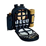 Picnic at Ascot 081X-SCB Backpack with Removable Blanket, for Four, Navy/Chevron