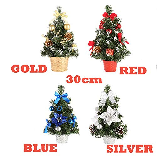 KingWo Cute Artificial Tabletop Colorful Mini Christmas Tree Decorations Creative and Charming Festival Miniature Tree 30cm (Blue) by KingWo (Image #2)