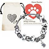 Dog Pet Memorial Bracelet Gifts | Remembrance Keepsake Paw Print Heart Pink Beads Charm Jewelry, Love Dog Themed Bag, Flowering Pet Sympathy Card (Black & White Paw Print Glass Beads)