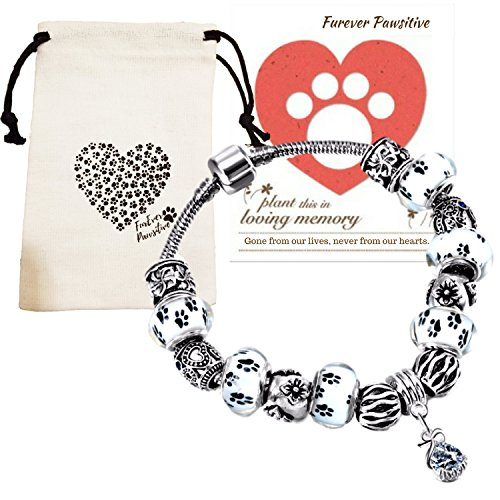 - Furever Pawsitive Loss Bracelet Pet Remembrance Gifts - Pet Memorial Paw Print Glass Bead Bracelet,Memorial Seeds in Loving Memory Pet Sympathy Card,Pet Loss Gifts Bag