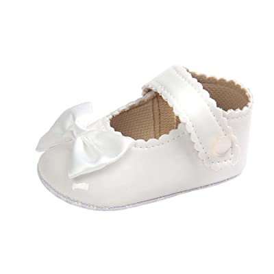 af03b0955223 Baorong Baby Girls Pu Mary Jane Soft Sole Bowknot Princess Infant Shoes