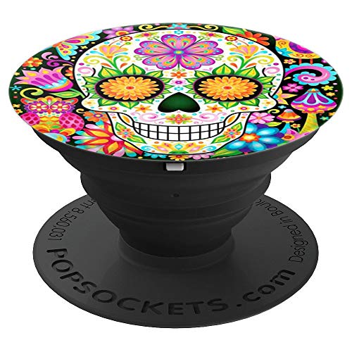 Cool Sugar Skull Mexican Design Colorful Flower Art on Black - PopSockets Grip and Stand for Phones and Tablets
