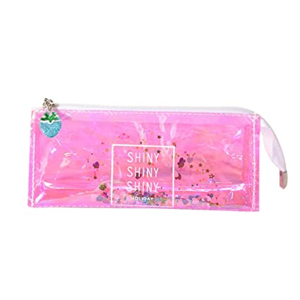 YeahiBaby Transparent Pencil case Girls Colorful Laser Cosmetic Bag Makeup Pouch (Pinkish Purple)